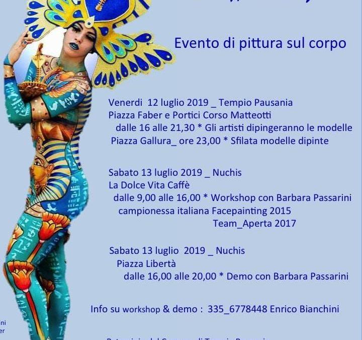SABATO 13 LUGLIO  a Tempio Pausania e Nuchis a partire dalle ore 9.00, l'Associazione Benacus propone l'Evento di PITTURA SUL CORPO, con la partecipazione della campionessa italiana di Facepainting 2015. Vi aspettiamo!!!