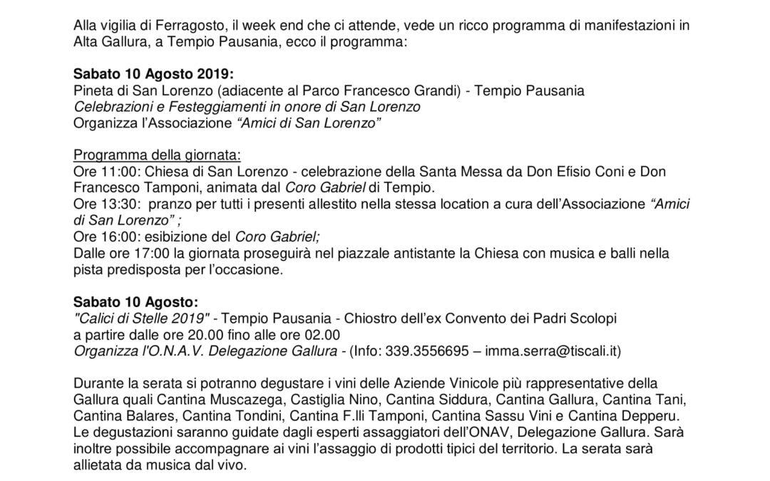 Weekend della vigilia di Ferragosto a Tempio Pausania