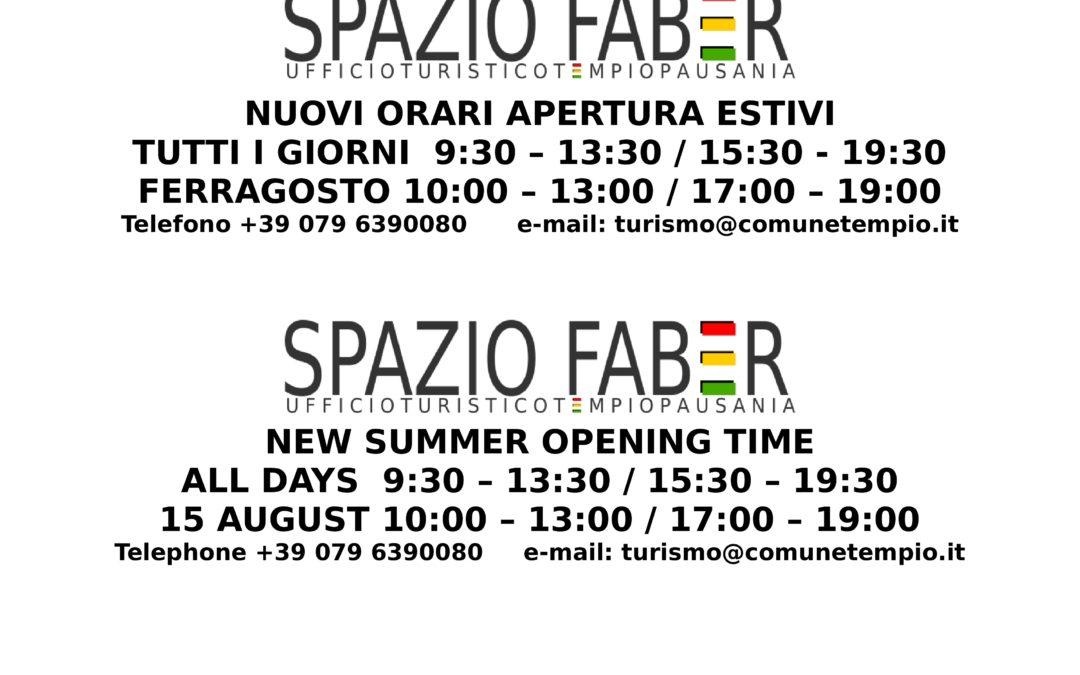 Orari Estivi 2019 – Spazio Faber – Tempio Pausania