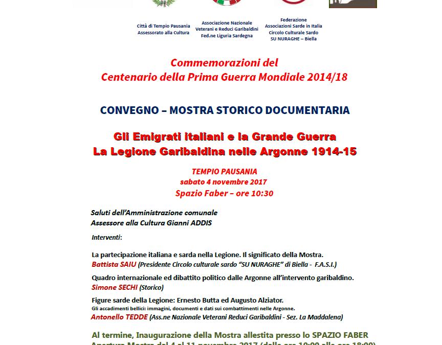 Convegno – mostra storico documentaria: Gli Emigrati italiani e la Grande Guerra. La Legione Garibaldina nelle Argonne 1914-15