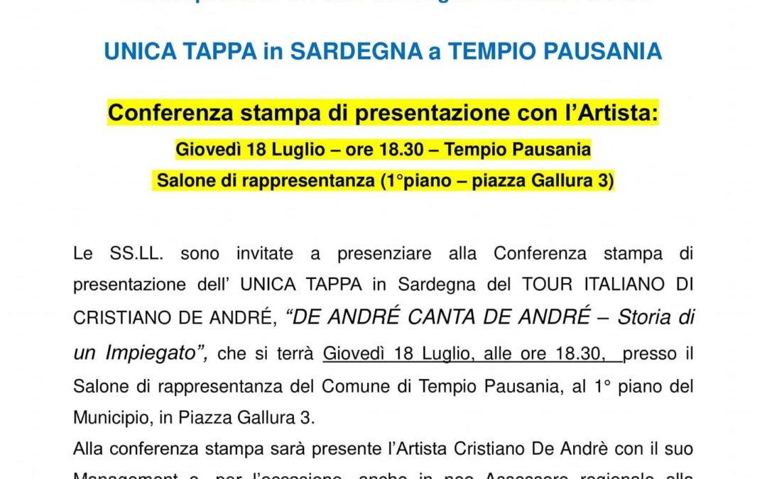 """CONFERENZA STAMPA  IL TOUR ITALIANO DI CRISTIANO DE ANDRÉ """"DE ANDRÉ CANTA DE ANDRÉ"""