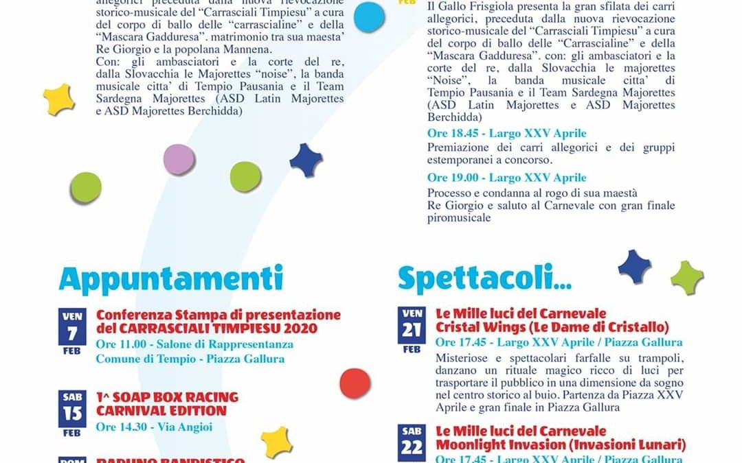 "COMUNICATO STAMPA n. 7 – ""E' arriendi Carrasciali!"""