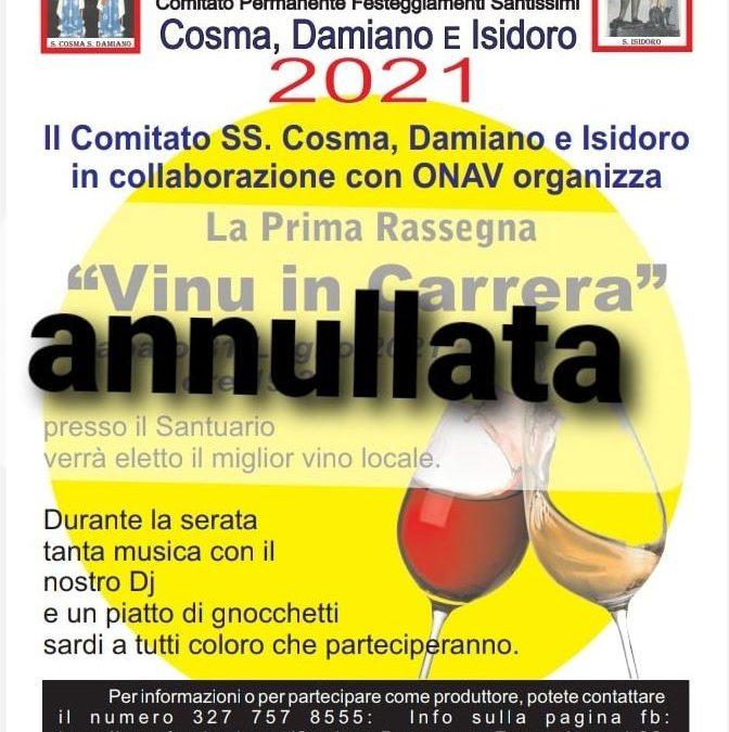 """""""Vinu in Carrera"""" – Annullato l'appuntamento con la rassegna enologica"""